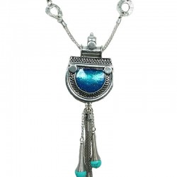 Aqua Blue Enamel Love-Bomb Tassel Drop Long Necklace