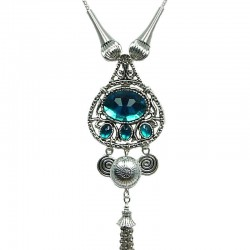 Aqua Blue Luck Teardrop Tassel Drop Long Necklace