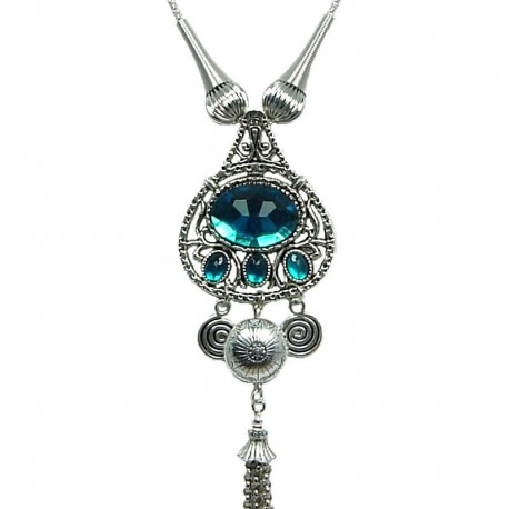 Fashion Women's Gift, Chic Costume Jewellery, Aqua Blue Luck Teardrop Tassel Drop Long Necklace