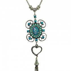 Aqua Blue Rhinestone Flower Long Drop Tassel Long Necklace