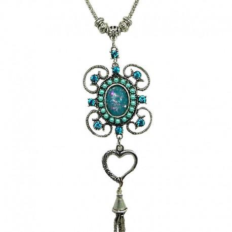 Fashion Women's gift, Chic Costume Jewellery, Aqua Blue Rhinestone Flower Long Drop Tassel Long Necklace