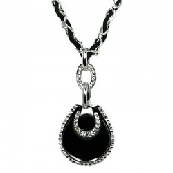 Black Enamel Teardrop Rope Chain Long Necklace