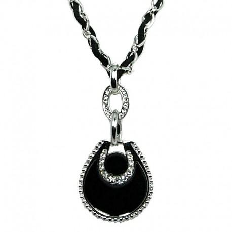 Fashion Women's Gift, Chic Costume Jewellery, Black Enamel Teardrop Rope Chain Long Necklace