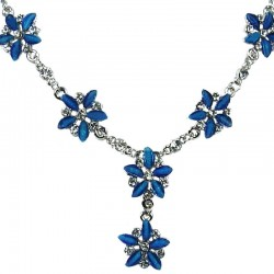 Royal Blue Rhinestone Marigold Flower Dressy Necklace