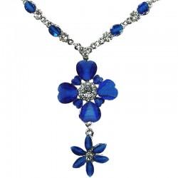 Chic Fashion Costume Jewellery Wedding Dress Bridesmaid Dress, Women Gift, Royal Blue Rhinestone Two Flower Drop Necklace
