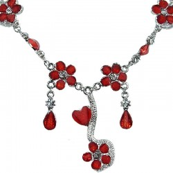 Red Rhinestone Daisy Cascade Floral Statement Necklace