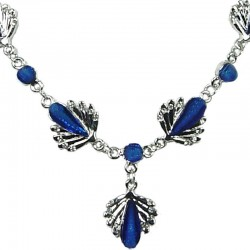Fashion Costume Jewellery, Royal Blue Rhinestone Teardrop Clear Diamante Silver Comet Dressy Necklace