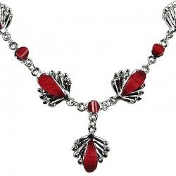 Fashion Costume Jewellery, Red Rhinestone Teardrop Clear Diamante Silver Comet Dressy Necklace
