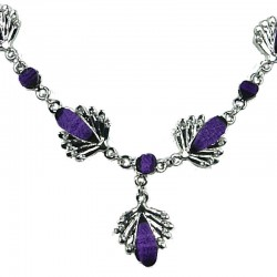 Fashion Costume Jewellery, Purple Rhinestone Teardrop Clear Diamante Silver Comet Dressy Necklace
