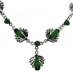 Fashion Costume Jewellery, Green Rhinestone Teardrop Clear Diamante Silver Comet Dressy Necklace
