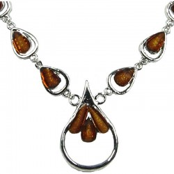 Modern Dressy Costume Jewellery, Fashion Women's Gift, Brown Rhinestone Teardrop Dress Necklace