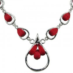 Modern Chic Dressy Costume Jewellery, Fashion Women Gift, Red Rhinestone Teardrop Silver Link Dress Necklace