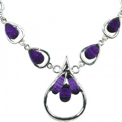 Purple Rhinestone Teardrop Silver Link Dress Necklace