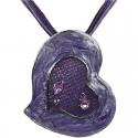 Purple Enamel Heart Cord Necklace
