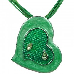 Chic Fashion Women Girls Gift, Costume Jewellery, Green Enamel Heart Cord Necklace