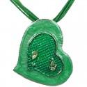 Green Enamel Heart Cord Necklace