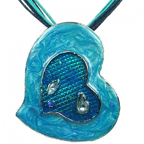 Chic Fashion Women Girls Gift, Costume Jewellery, Blue Enamel Heart Cord Necklace