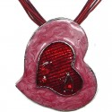 Red & Pink Enamel Heart Cord Necklace