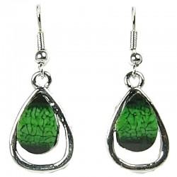 Green Rhinestone Teardrop Dainty Drop Earrings