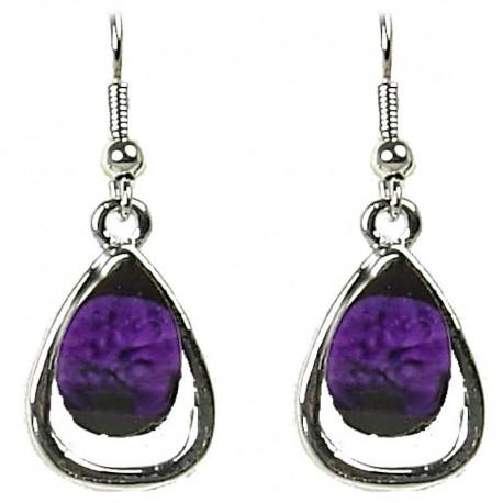 Simple Small Dangle Costume Jewellery, Chic Fashion Women Gift, Purple Rhinestone Teardrop Dainty Drop Earrings