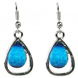 Blue Rhinestone Teardrop Dainty Drop Earrings