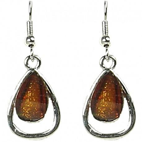 Simple small Dangle Costume Jewellery, Chic Fashion Women Gift, Brown Rhinestone Teardrop Dainty Drop Earrings