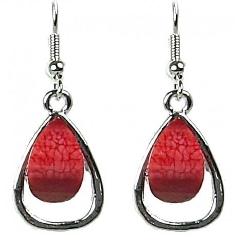 Simple Small Dangle Costume Jewellery, Chic Fashion Women Gift, Red Rhinestone Teardrop Dainty Drop Earrings