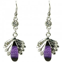 Fashion Women Costume Jewellery Gift, Purple Rhinestone Teardrop Clear Diamante Silver Comet Drop Earrings