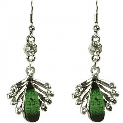 Fashion Women Costume Jewellery Gift, Green Rhinestone Teardrop Clear Diamante Silver Comet Drop Earrings