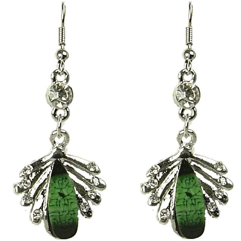 Fashion Women Costume Jewellery Gift, Green Rhinestone Teardrop Clear Diamante  Silver Comet Drop Earrings