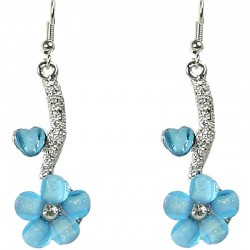 Blue Rhinestone Daisy Floral Drop Earrings