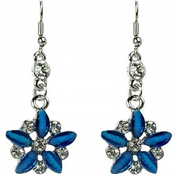 Royal Blue Rhinestone Marigold Flower Dressy Drop Earrings