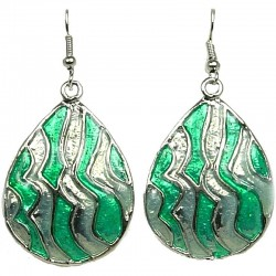 Chic Fashion Women Girls Gift, Costume Jewellery, Green Enamel Wave Teardrop Dangle Earrings