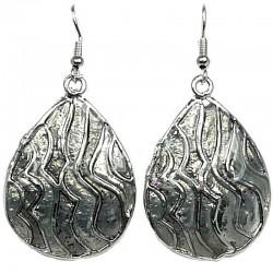 Chic Fashion Women Girls Gift, Costume Jewellery, Black Enamel Wave Teardrop Dangle Earrings