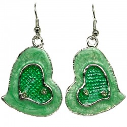 Chic Fashion Women Girls Gift, Costume Jewellery, Green Enamel Heart Drop Earrings