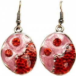 Hip Hop Costume Jewellery, Trendy Women Girls Gift, Red & Pink Enamel Bubbly Short Drop Earrings