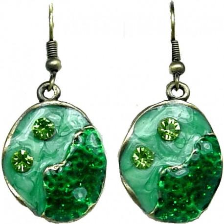 Hip Hop Dainty Costume Jewellery, Fashion Modern Women Girls Gift, Green Enamel Bubbly Short Drop Earrings