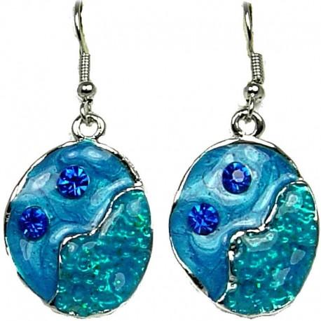 Hip Hop Costume Jewellery, Fashion Modern Women Girls Gift, Blue Enamel Bubbly Short Drop Earrings
