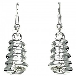 Chic Fashion Women Girls Gift, Costume Jewellery, Silver Plated Spiral Cone Short Drop Earrings