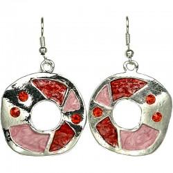 Round Costume Jewellery, Yound Women Girls Gift, Red & Pink Enamel Irregular Loop drop Earrings