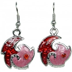 Simple Dainty Costume Jewellery, Young Women Girls Gift, Red & Pink Enamel Swirl Wave Short Drop Earrings