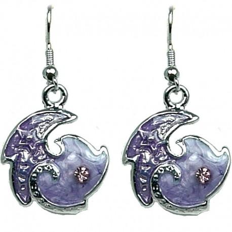Simple Dainty Costume Jewellery, Fashion Young Women Girls Gift, Purple Enamel Swirl Wave Short Drop Earrings