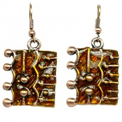 Chic Costume Jewellery, Trendy Fashion Young Women Girls Gift, Brown Enamel Rectangle Drop Earrings