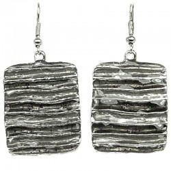 Costume Jewellery, Cool Fashion Young Women Girls Gift, Black Enamel Rectangle Drop Earrings