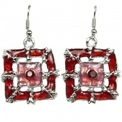 Cool Costume Jewellery, Fashion Young Women Girls Gift, Red Enamel Square Web Drop Earrings