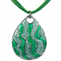 Chic Fashion Women Girls Gift, Costume Jewellery, Green Enamel Wave Teardrop Cord Necklace