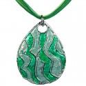 Green Enamel Wave Teardrop Cord Necklace