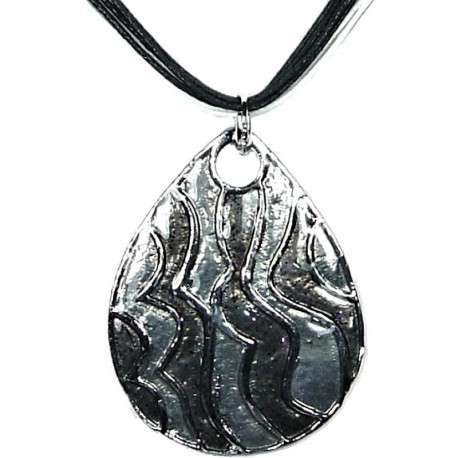 Chic Fashion Women Girls Gift, Costume Jewellery, Black Enamel Wave Teardrop Cord Necklace