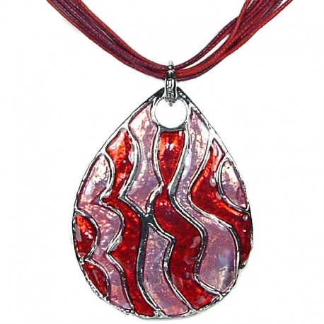 Chic Fashion Women Girls Gift, Costume Jewellery, Red Pink Enamel Wave Teardrop Cord Necklace