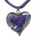 Purple Enamel Heart In Love Cord Necklace